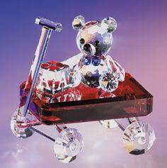 """Baby's Red Wagon"" crystal figurine. www.CrystalFigurinesSite.com"