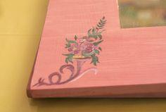 Espejo 26x26cm rosa pintado a mano - hecho a mano por Eneita en DaWanda
