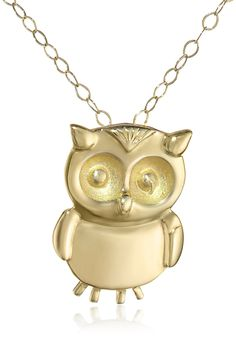 """14k Yellow Gold Small Owl Pendant Necklace, 18"""""""
