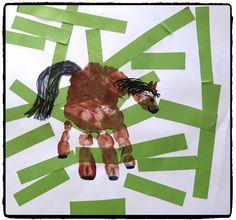 cheval en empreinte de main, ferme, campagne, collage, bricolage enfant