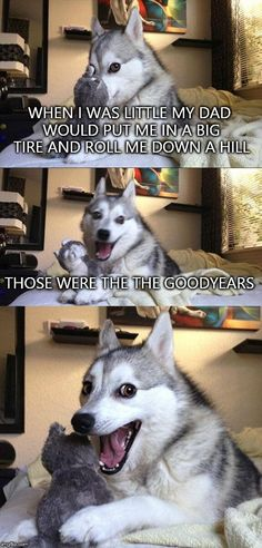 Bad Pun Dog | WHEN I WAS LITTLE MY DAD WOULD PUT ME IN A BIG TIRE AND ROLL ME DOWN A HILL THOSE WERE THE THE GOODYEARS | image tagged in memes,bad pun dog | made w/ Imgflip meme maker