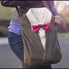 IN SEARCH OF..... I found this on a Pinterest and would love one just like it. Unfortunately I don't have the supplies (tweed jacket, shirt, bow tie) and would like to find someone that can make something like this or similar. Bags