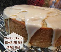 """Woodford Reserve Bourbon Cake with Caramel Glaze. Bourbon gives this cake a deep, rich flavor. It's not an over-powering flavor.   You'll more likely take a bite and think """"what is that flavor?""""  The texture of the cake is creamy and moist.  It's a great alternative to your traditional pound cake."""