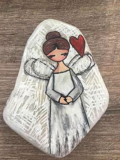 Angel stone painting – Home Decoration Rock Painting Patterns, Rock Painting Ideas Easy, Rock Painting Designs, Paint Designs, Pebble Painting, Pebble Art, Stone Painting, Mandala Painting, Painted Rocks Craft
