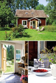 The cottage has been painted with Falun red paint with white trims and window frames. Falun is the name of a Swedish, deep red paint well known for its use on wooden cottages and barns. The paint originated from the copper mine at Falun in Dalarna, Sweden. The traditional colour remains popular today due to its effectiveness in preserving wood.