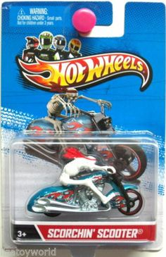 Scortchin' Scooter Motorcycle 2013 HOT WHEELS Motorcycle Series wRemovable Rider