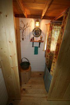 Little Yellow Door House bathroom with galvanized steel tub Tub Shower Combo, Shower Tub, Shower Basin, Shower Heads, Tumbleweed Tiny Homes, Galvanized Tub, Tiny House Bathroom, Tiny Bathrooms, Small Bathroom