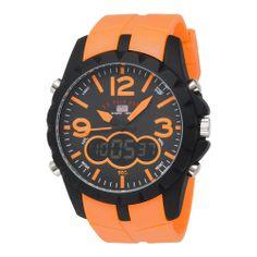 Sport Men's Analog-Digital Dial Orange Rubber Strap Watch Quartz Wrist Band