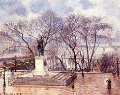 La terraza elevada del Pont Neuf, Place Henri IV, por la tarde, lluvia, 1902 - Camille Pissarro