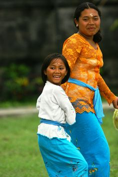 Mother and daughter laughing, Bali, Indonesia