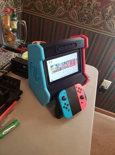 Nintendo Switch Arcade Cabinet by concavechest; printed by Jeremy Swope - Nintendo Switch Console - Ideas of Nintendo Switch Console - Nintendo Switch Arcade Cabinet by concavechest; printed by Jeremy Swope Nintendo Room, Super Nintendo, Nintendo 3ds, Nintendo Switch Accessories, Game Room Accessories, Mundo Dos Games, Video Game Rooms, Video Games, Video Game Decor