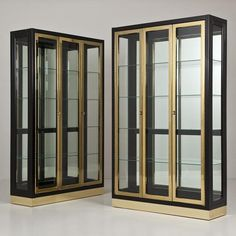 Talisman A Pair of Black and Brass Cabinets by Mastercraft 1960s -