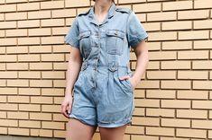 Denim Romper, Denim Jumpsuit, Short Jumpsuit, Denim Skirt, Vintage Denim, Vintage Wear, 90s Shorts, Overalls, Cutest Thing Ever