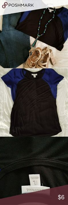 Motherhood Maternity Top This black with blue sleeved EUC maternity shirt is amazing! Size small, but plenty of room to fit! I was a size 4/6 pre-pregnancy. I wore this top all the way up till the day I delivered at 37 weeks! So soft! So comfy! So cool! Any mama to be needs this shirt in their wardrobe!   *Jeans and heels are available for purchase as well, take look at my closet to bundle items. Necklace not for sale Motherhood Maternity Tops Blouses