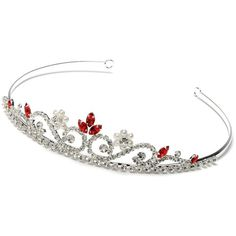Amazon.com: USABride Petite Red Crystal Wedding Headband Bridal... (785 UAH) ❤ liked on Polyvore featuring accessories, hair accessories, tiaras, crown, jewelry, crystal headband, crystal tiara headband, bridal hair accessories, tiara headband and rhinestone hair accessories
