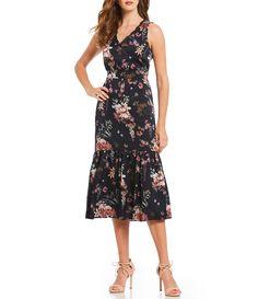 b6c394174ab Antonio Melani Edison Floral Print V-Neck Ruffle Hem Midi Dress