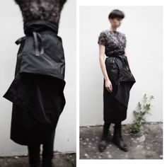 Asymmetrical japanese style draped skirt/ by celestialbodystore