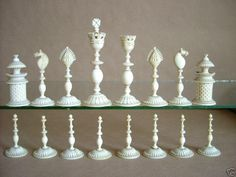 "Large Anglo-Indian chess set, early to mid 19th century, the white pieces in natural ivory. the black pieces in water buffalo horn. These fine sets were produced in Vizagapatam, the renowned center for producing fine chess sets and boxes in the 18th & 19th century. Kings 4.25"" tall."