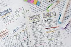 Apuntes organizados e inspiradores. Hojas de estudio de química con dibujos y tipografía bonita