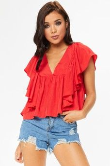 Cyrus Red Frill Top