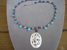 Gem Stone Necklace Ameythst Necklace Turquoise by purplesage333