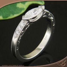 Marquise chevron engagement ring.