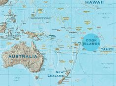 The Cook Islands are in the South Pacific Ocean, about half way between Hawaii and New Zealand.