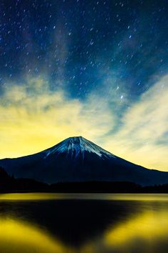 mountain from which a star falls, Mt.Fuji, Japan