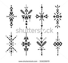 Vector Tribal Hand Drawn elements, ethnic collection, aztec style, tribal art, Flash Tattoo isolated on white background