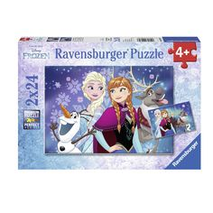 Set van 2 Ravensburger Disney Frozen puzzels. Beide puzzels bestaan beide uit 24 stukjes. Afmeting: puzzel 26 x 18 cm - Disney Frozen Noorderlichten, 2x24st. BT