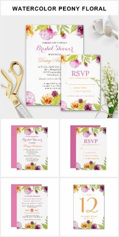 BRIDAL SHOWER COLLECTION Chic Pretty Spring Summer Watercolor Peony Floral Nature Flowers Botanical Colorful Pretty Personalized Bridal Shower Invites Announcements Invitations RSVP Table Numbers Cards & More!