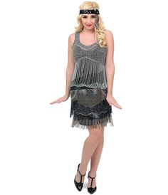 Iconic by UV Exclusive 1920s Style Flapper dress   Black   Blue Beaded  Tycoon Flapper Dress 95ac4077be8f1