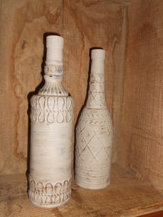 Glass Bottles - set of 2 - handpainted with Cece Caldwell Paints - Distressed for a rustic look. $20.00, via Etsy.