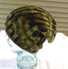 Camo crochet ribbed men's hat, Camo, military, hunter's cap, sportsmen's hat, Ready to Ship - pinned by pin4etsy.com