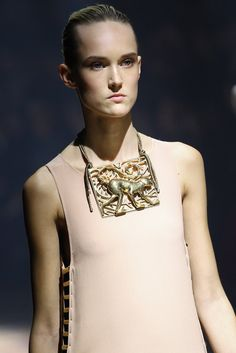 Lanvin's 125th anniversary show for Spring 2015 included sizable necklaces like these—as bold and beautiful as the muses Alber Elbaz celebrated with the collection.