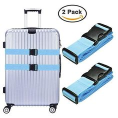 Hibate Adjustable Luggage Straps Heavy Duty Suitcase Belts - Blue Pack of 2