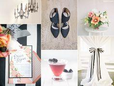Black, white, peach, coral polka dot amd stripe wedding   -- love the black & white striped ribbon......