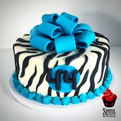 #zebra #turquoise #cake #bow #sinfulsweets