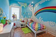 rainbow theme bedrooms - rainbow bedroom decorating ideas - rainbow decor