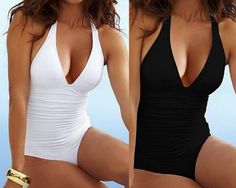 NEW!!! Womens Firm Control Ruched One Piece White/Black