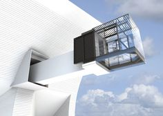 A sliding screen can reveal or conceal a glass office that cantilevers from the concave face of this concept house