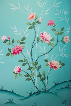 Painting A Chinoiserie Nursery - The Entire Process — Diane Hill Design Painted Paneling Walls, Hand Painted Walls, Painted Wall Designs, Bedroom Murals, Wall Murals, Wall Art, Pink And White Flowers, Colorful Flowers, Painted Branches