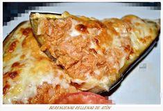 Berenjenas rellenas de atún. (Thermomix) Relleno, Lasagna, Ethnic Recipes, Food, Carnival, Recipes With Vegetables, Lentils, Desserts, Healthy Food