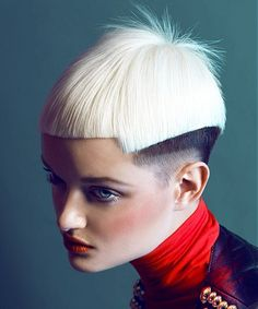 A short blonde straight spikey shaved sides Multi-Tonal Womens haircut hairstyle by Sanké