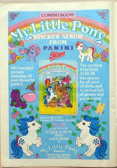 UK advertisement for the Panini stickerbook of My Little Pony ...