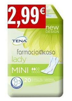 TENA Lady Mini, 20 Unidades --------------------------------- por 2,99€!  Especialmente diseñada para la discreta protección de todos los días, esta compresa cómoda y suave es mucho más absorbente que una compresa normal.  Su núcleo QuickDry™ de rápida absorción y su sistema especial Fresh Odour Control™ que neutraliza los olores, convierten a esta pequeña compresa en la perfecta elección para las pérdidas de orina ligeras.  http://bit.ly/1htJ3EG