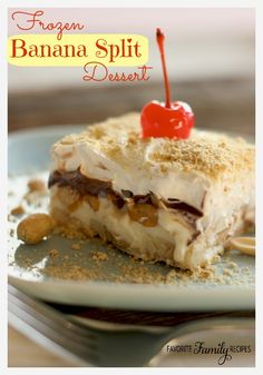 This Frozen Banana Split Dessert is the perfect recipe if you are feeding a crowd. It serves 24!