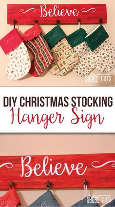 Christmas DIY: What an amazing way What an amazing way to display your stockings! Check out how simple this DIY Christmas Stocking Hanger Sign is to make. This is one of my favorite holiday decorations! Hobby Lobby Christmas, Christmas Wood, Christmas Signs, Christmas Decorations, Christmas Ideas, Coastal Christmas, Christmas 2017, Christmas Projects, White Christmas