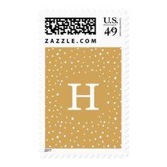 Flurries Monogram   Holiday Postage - monogram gifts unique custom diy personalize