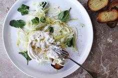 Lemon + Olive Oil Marinated Fennel with Burrata + Mint
